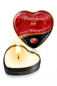 Массажная свеча сердечко Plaisirs Secrets Peach, 35 мл