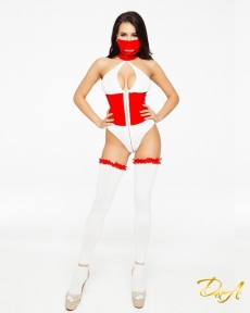 "Эротический костюм медсестры ""Развратная Аэлита"" XS-S, боди на молнии, маска, чулочки (SO3520)"