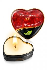 Массажная свеча сердечко Plaisirs Secrets Natural, 35 мл